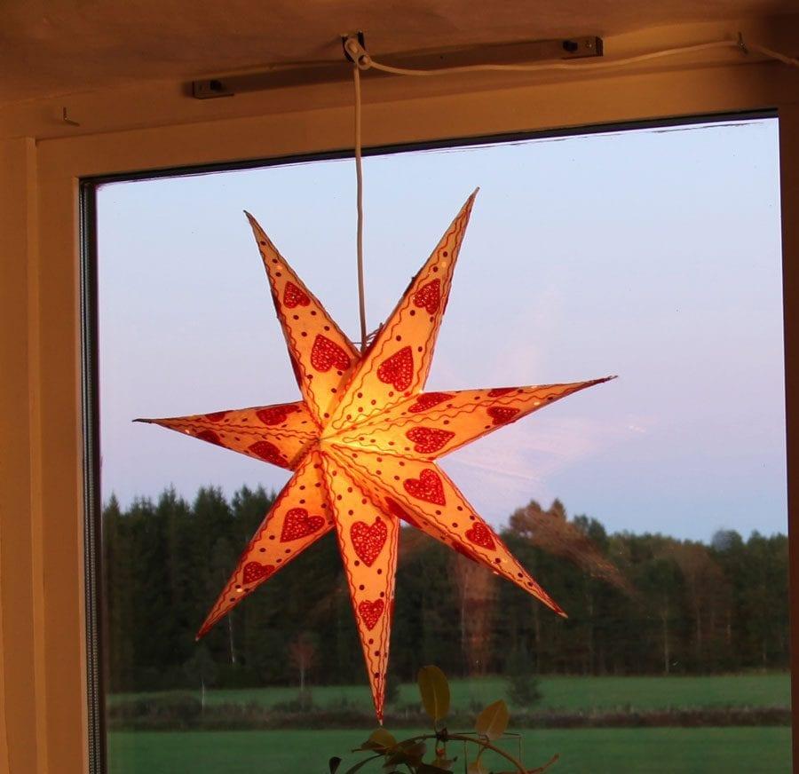 Papirstjerne Hjerte Rød-0