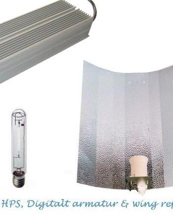 600W HPS pære + Digital ballast + Reflektor-0
