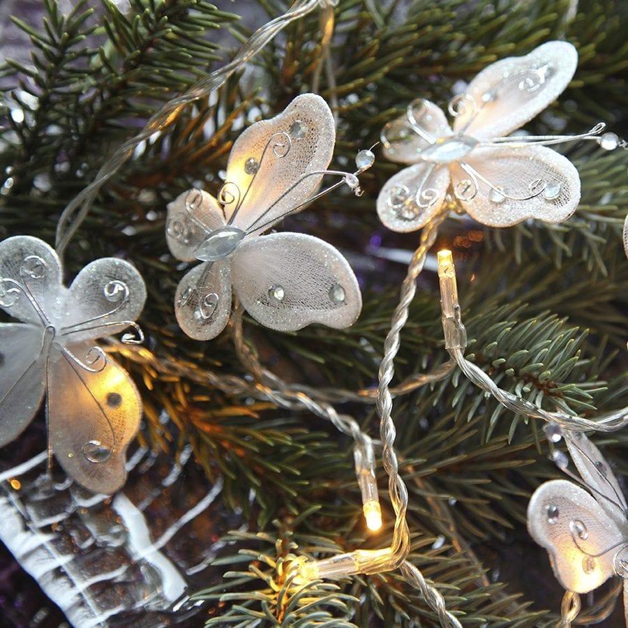 Sommerfugl Batteridrevet LED Lysslynge 16 Lys Hvit-41698