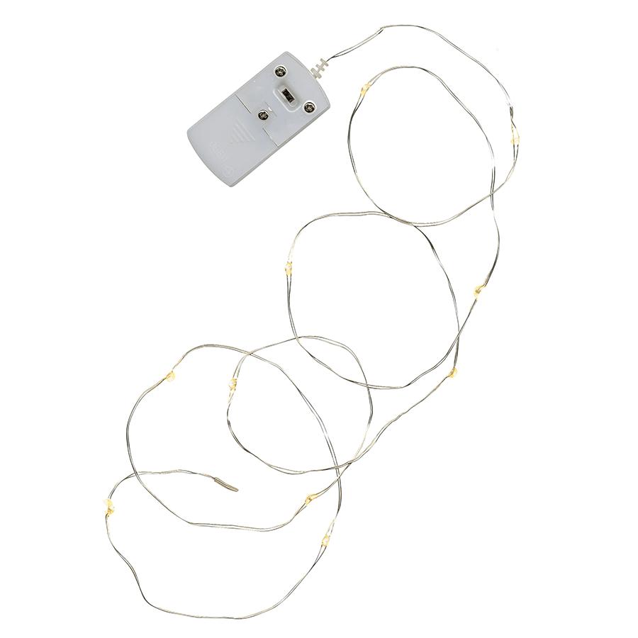 String Batteridrevet LED Lysslynge 12 Lys Sølv-47324