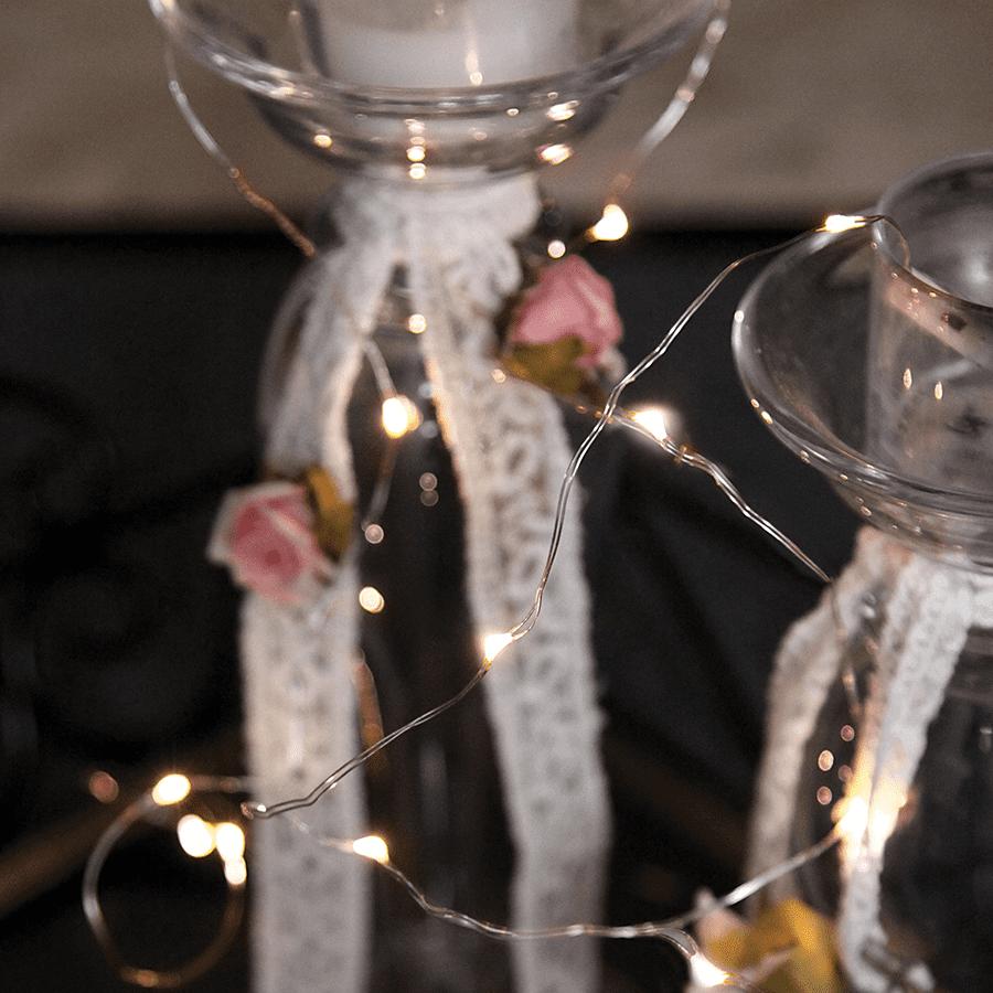 String Batteridrevet LED Lysslynge 12 Lys Sølv-47325