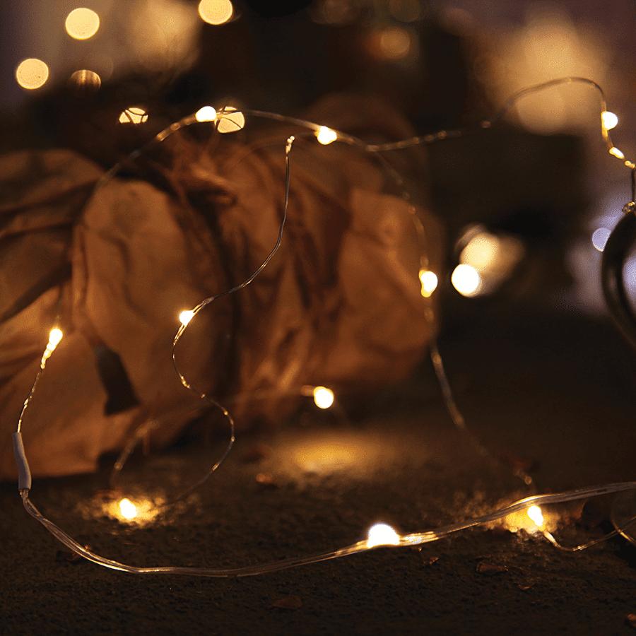String Batteridrevet LED Lysslynge 12 Lys Sølv-47326