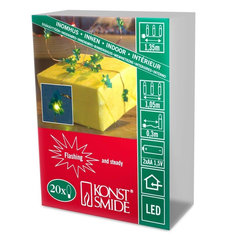 Batteridrevet LED Gave-/Lysslynge 20 Lys-56454