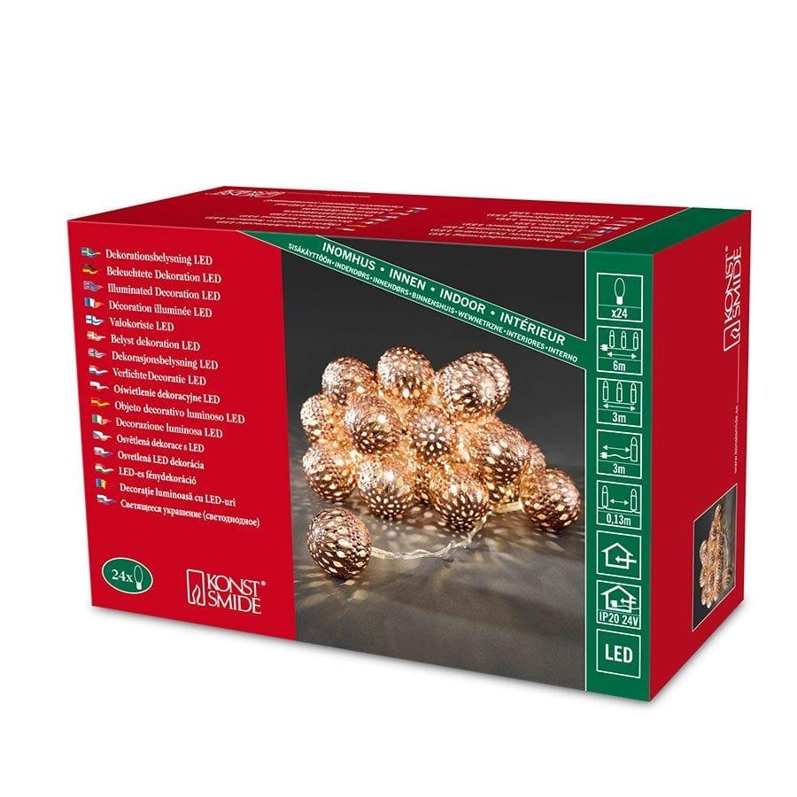 Metallballer LED Lysslynge 24 Lys Kobber-42332