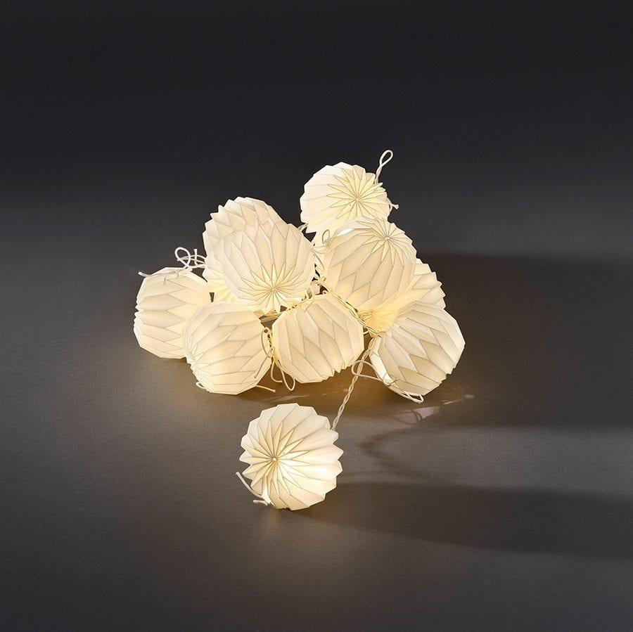 Papirballer LED Lysslynge Hvit 12 Lys-42260