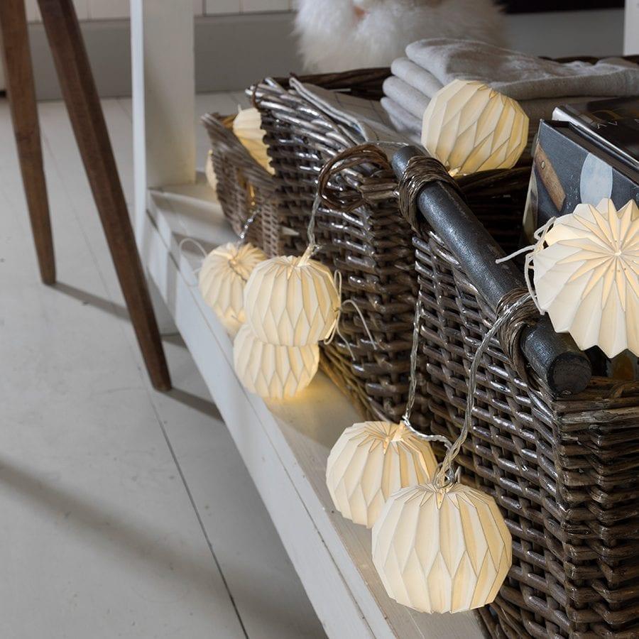 Papirballer LED Lysslynge Hvit 12 Lys-0