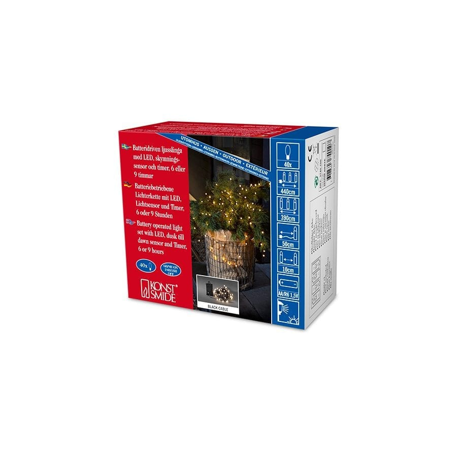 Batteridrevet LED Lysslynge Sensor 40 Lys-42269
