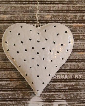 Hjerte Stjerner Matt Hvit-0