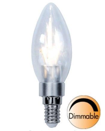 3W (=25W) E14 LED Klar Mignon Pære Dimbar-0