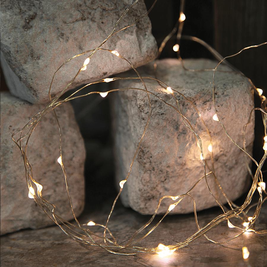 String Batteridrevet LED Lysslynge 46 Lys Sølv-47529
