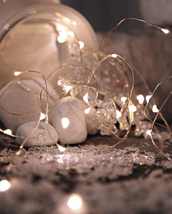 String Batteridrevet LED Lysslynge 46 Lys Sølv-0