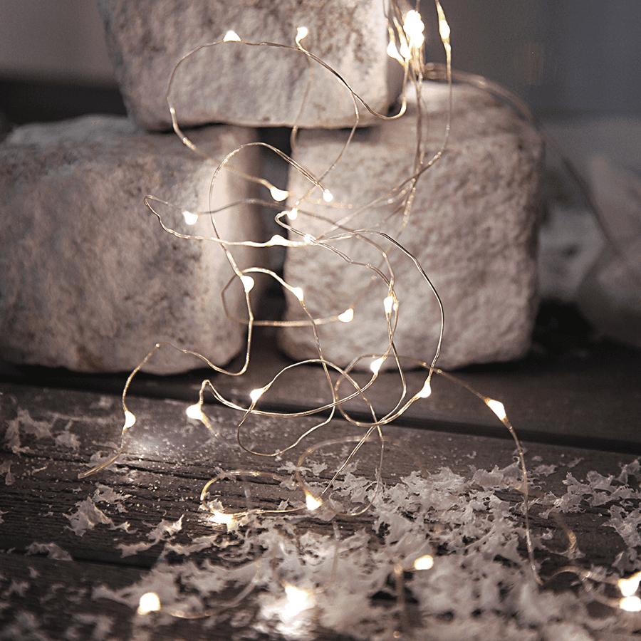 String Batteridrevet LED Lysslynge 46 Lys Sølv-47533