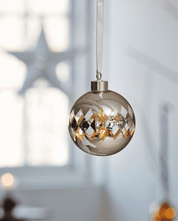 Herstal Batteridrevet Gloria Harlekin LED Glasskule Sølv-0