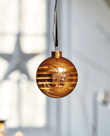 Herstal Batteridrevet Gloria Stripe LED Glasskule Kobber-0