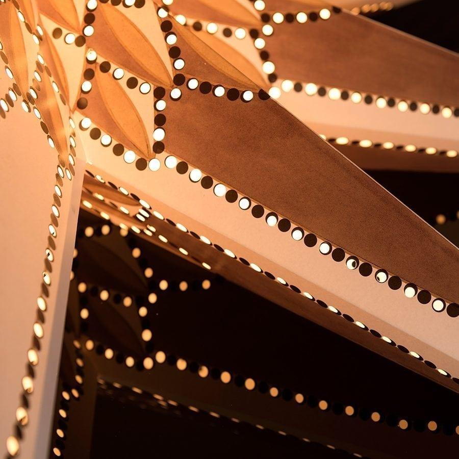Papirstjerne Hvit/Gull/Brun 115 cm-54734