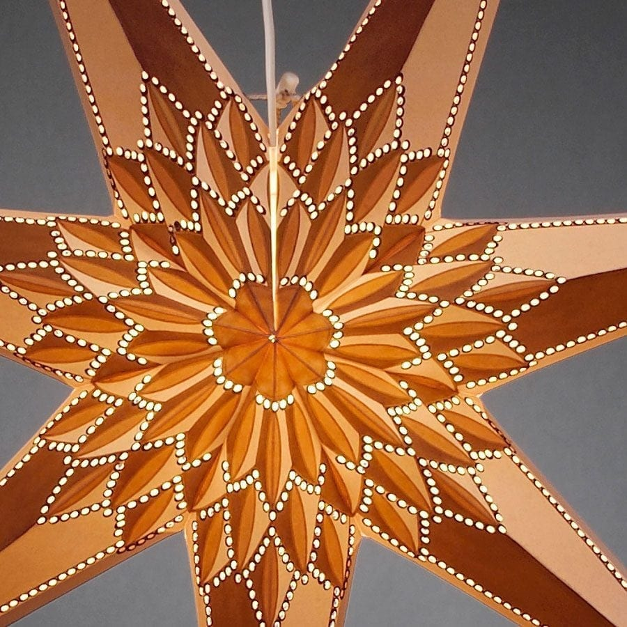 Papirstjerne Hvit/Gull/Brun 78 cm-55694