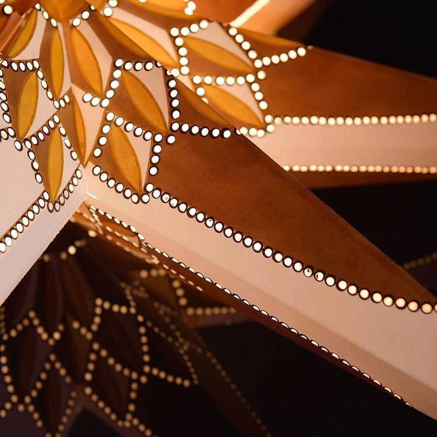 Papirstjerne Hvit/Gull/Brun 78 cm-55696