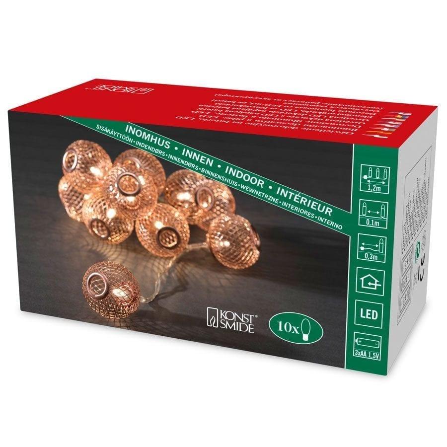 Batteridrevet LED Lysslynge Nettingballer Kobber 10 Lys-56051