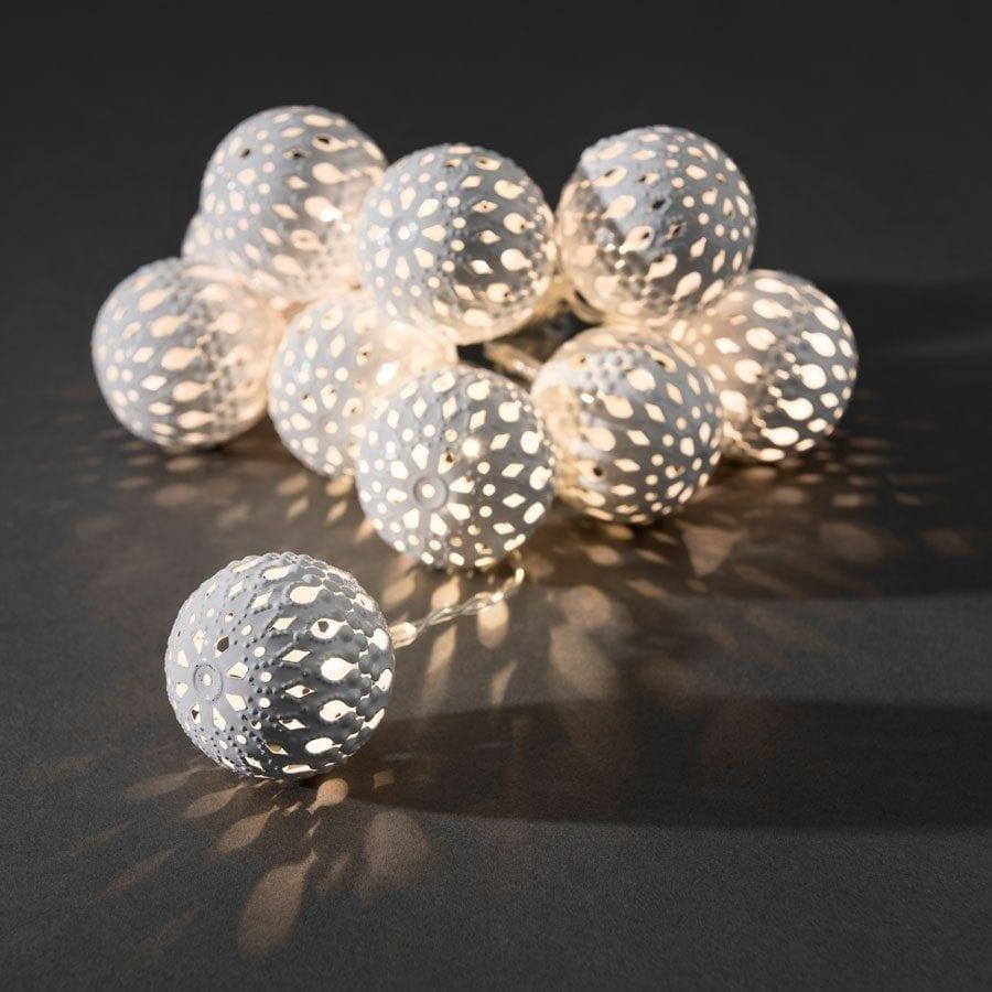 Batteridrevet Metallballer LED Lysslynge Hvit 10 Lys-56008