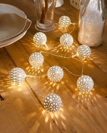 Batteridrevet Metallballer LED Lysslynge Hvit 10 Lys-0