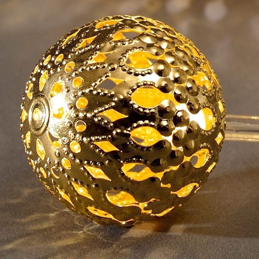 Batteridrevet Metallballer LED Lysslynge Gull 10 Lys-56028