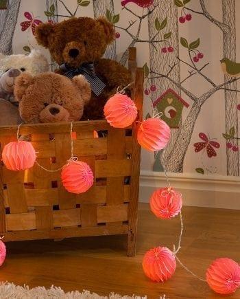 Papirballer LED Lysslynge Rosa 12 Lys-0