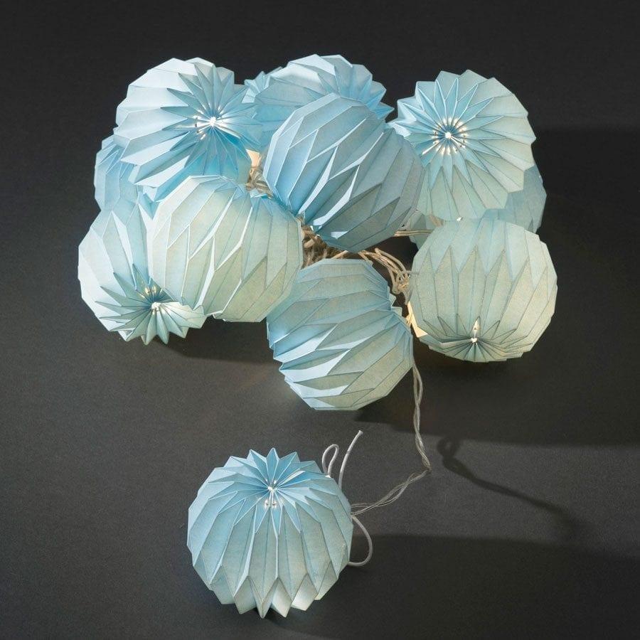 Papirballer LED Lysslynge Blå 12 Lys-55999