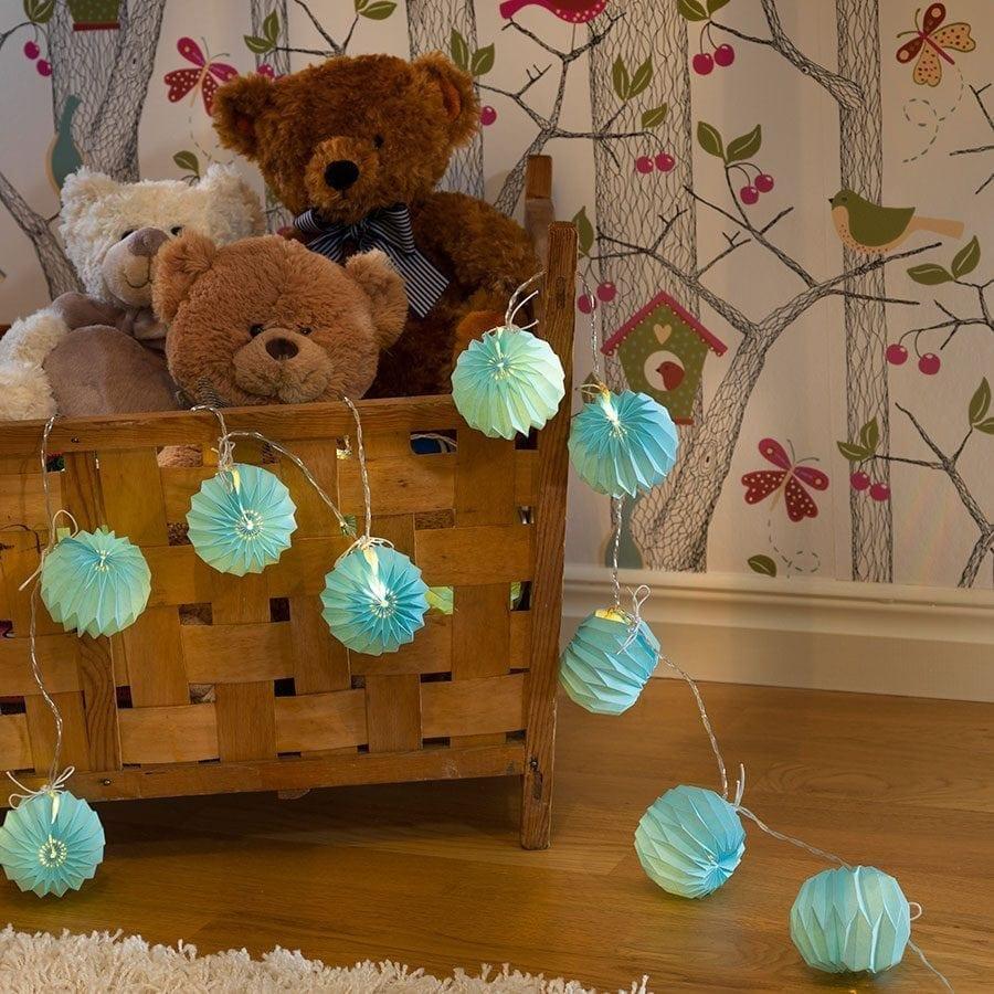 Papirballer LED Lysslynge Blå 12 Lys-0