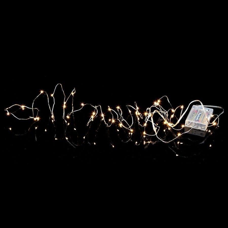 String Batteridrevet LED Lysslynge 40 Lys Sølv-54919