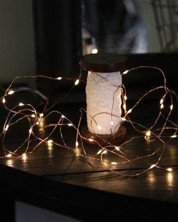 String Batteridrevet LED Lysslynge 40 Lys Kobber-0