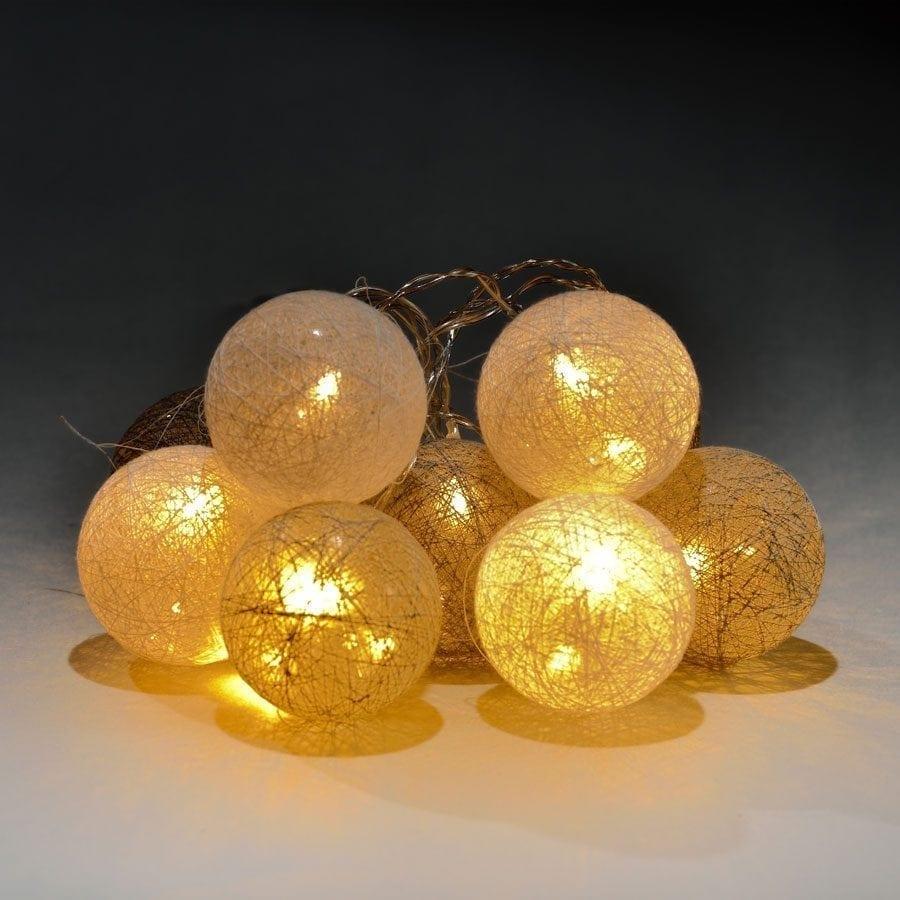 Batteridrevet LED Lysslynge Grå/Hvit 10 Lys -56413