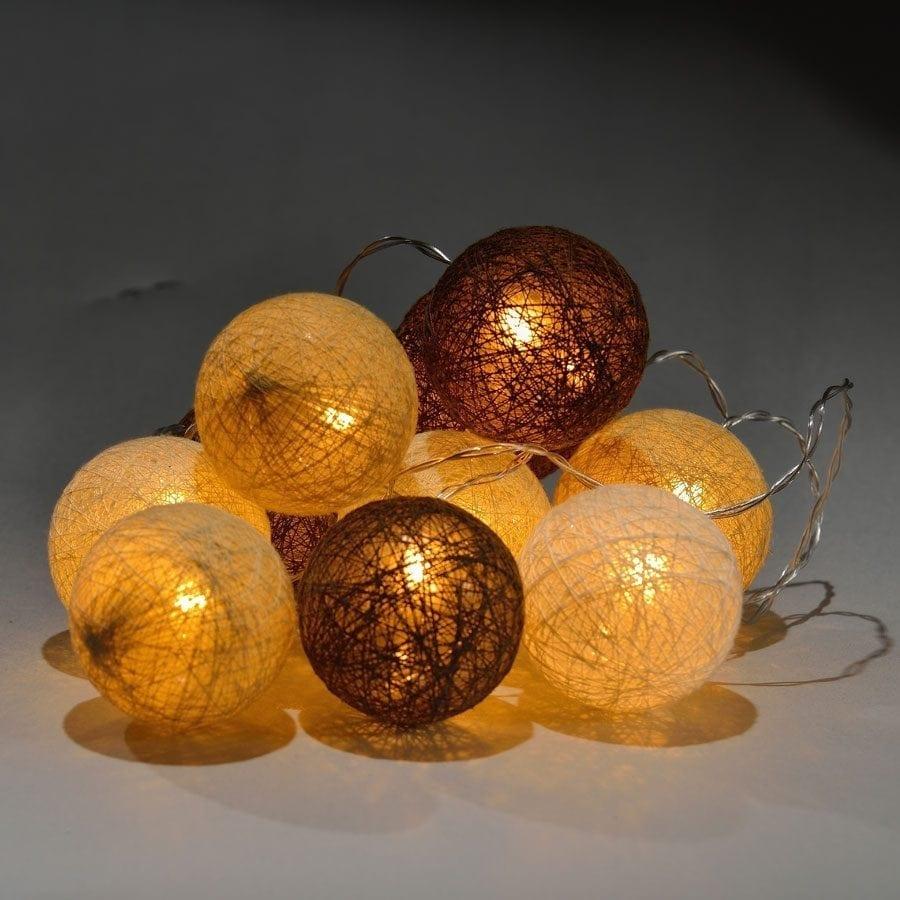 Batteridrevet LED Lysslynge Brun/Hvit 10 Lys -56434