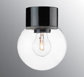 Ifö Classic Glob Vegg-/Taklampe Klart Glass Hvit/Sort 15 cm-69748