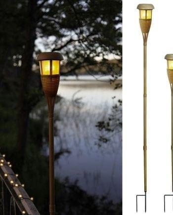 LED Solcelle Markeringslys Bambus-0