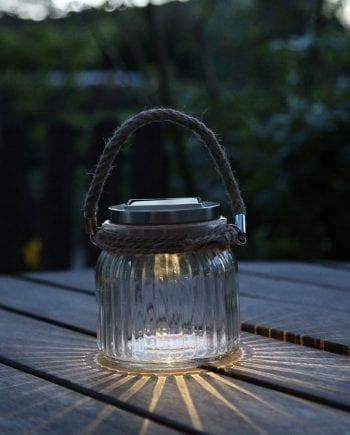 Jamjar LED Solcelle Glasskrukke Lykt m/ Tauhåndtak-0
