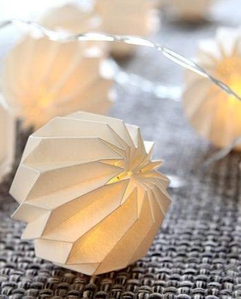 LED Papirblomst Lysslynge Hvit 10 Lys-0