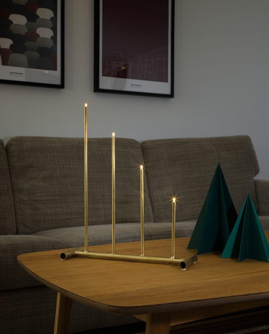 Adventsstake LED 3541 Råmessing 4 Lys-0