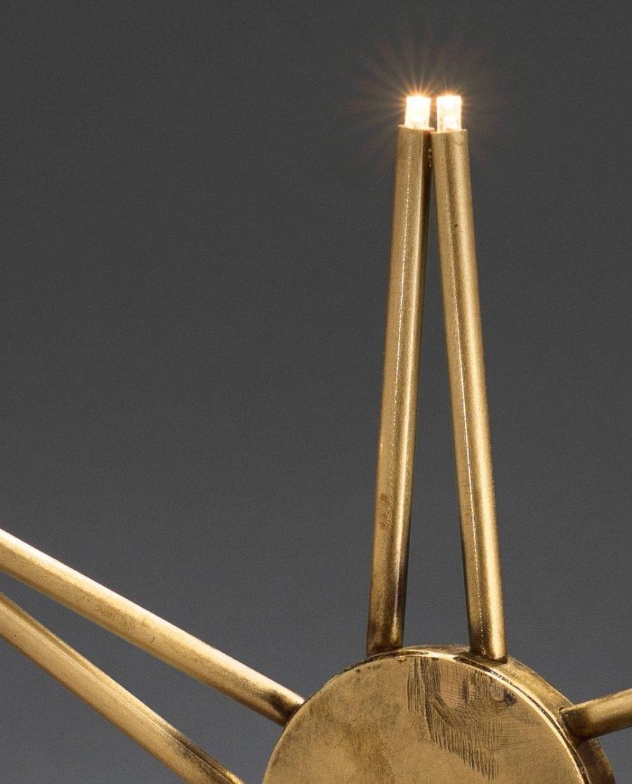 Metallstjerne på fot 3550 LED Råmessing-63869