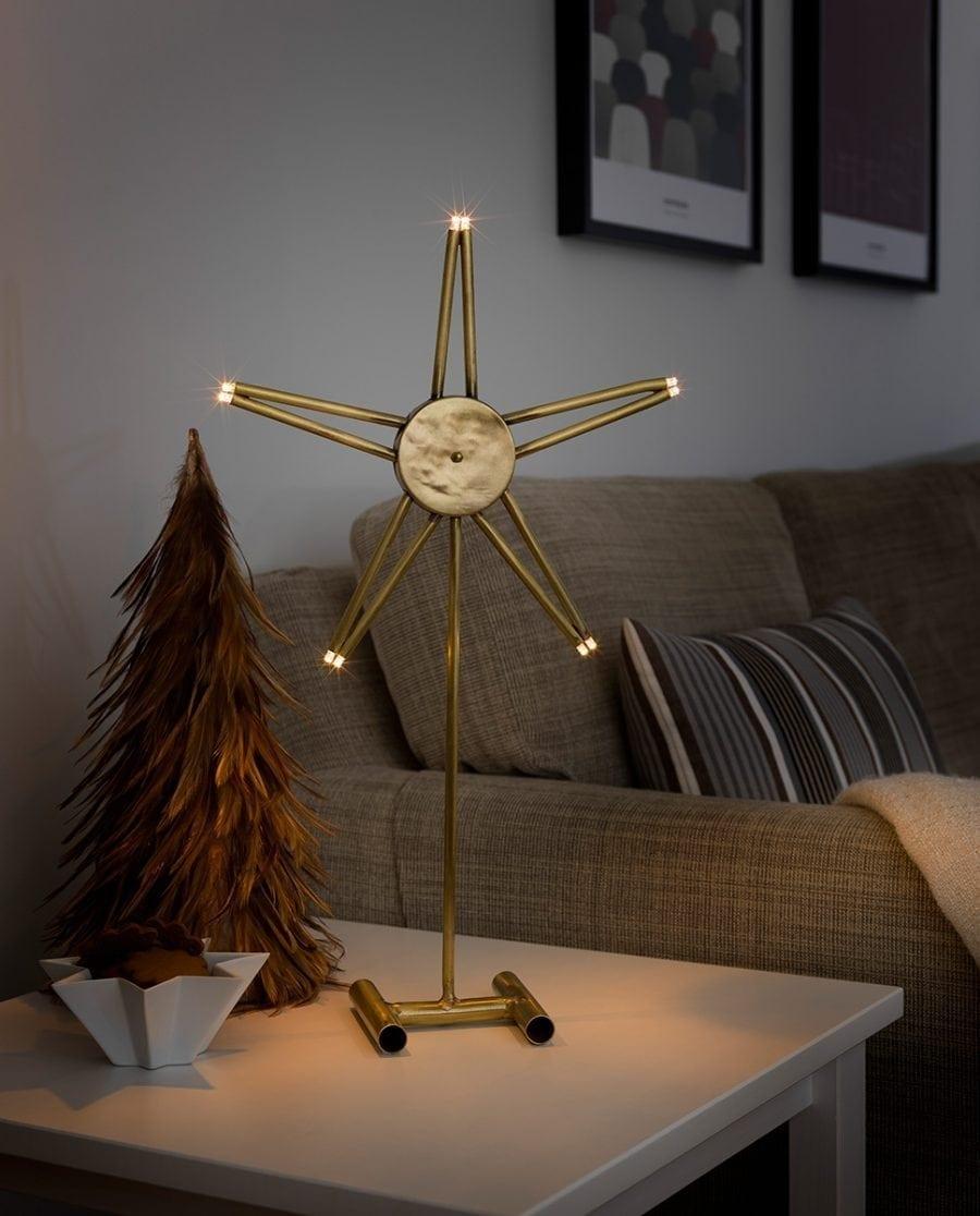 Metallstjerne på fot 3550 LED Råmessing-0