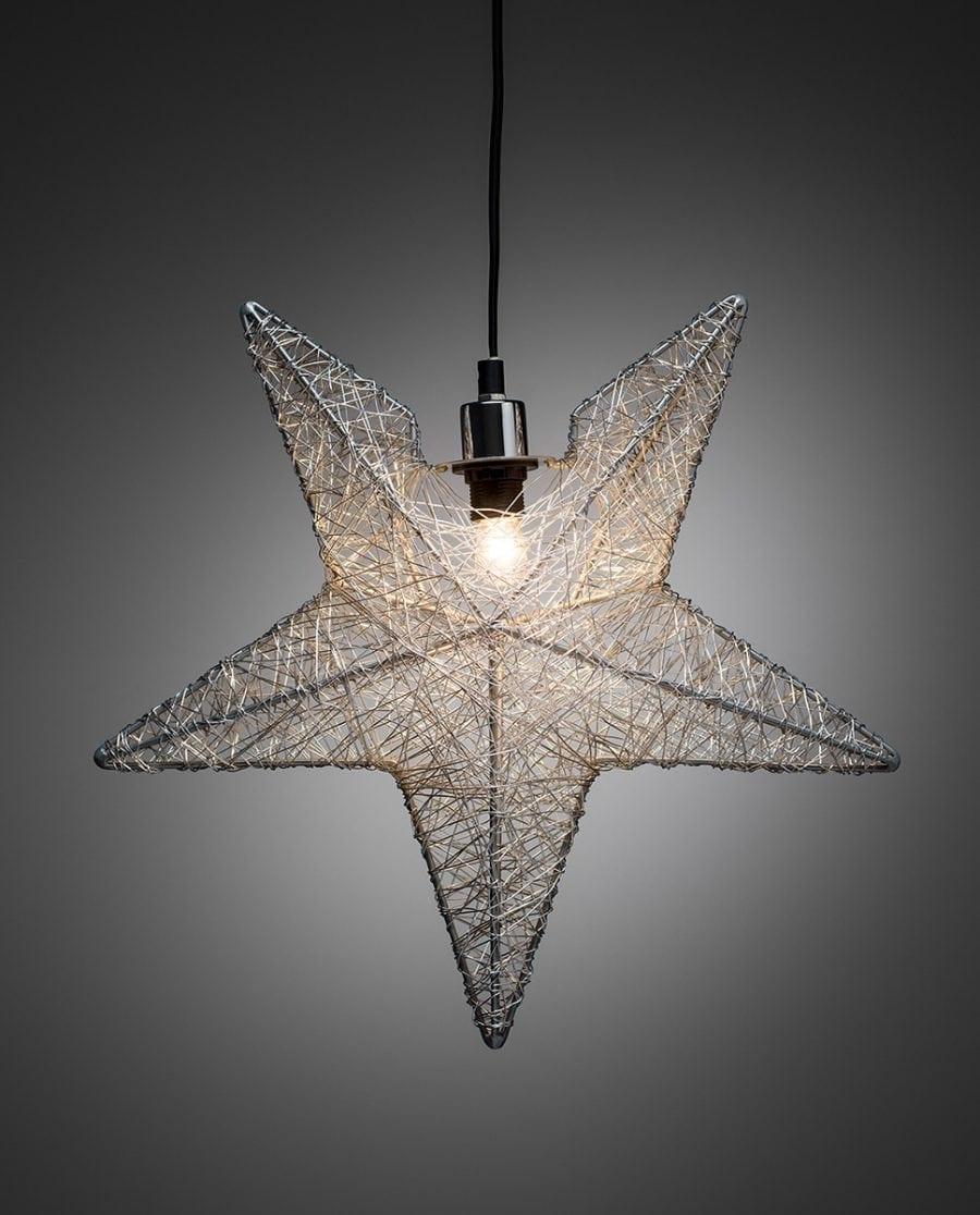 Metallstjerne 3555 Sølvtråd 40 cm-63830