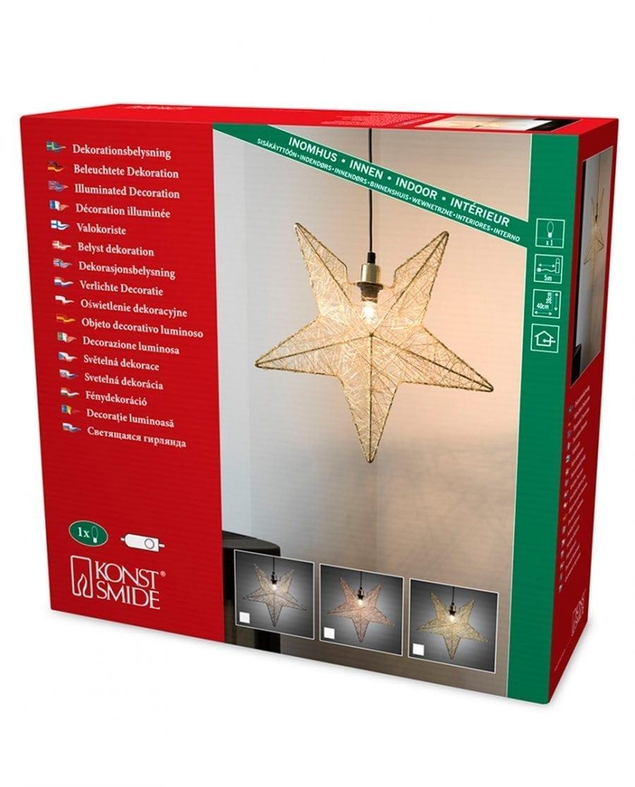 Metallstjerne 3555 Sølvtråd 40 cm-63827