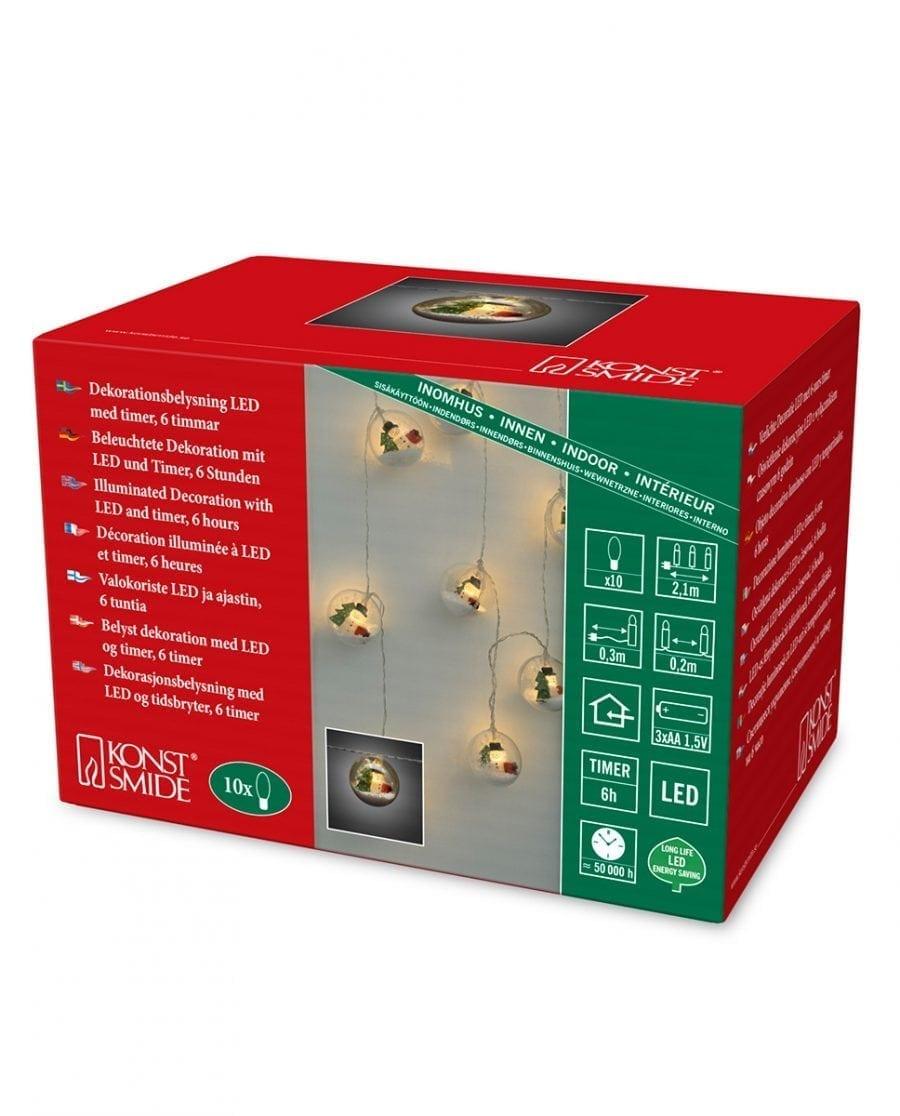 Batteridrevet Snømann LED Lysslynge Timer 10 Lys-64133