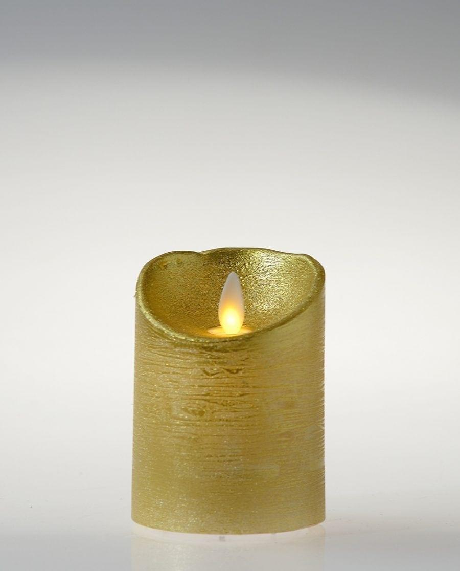Naturlig Flamme LED Kubbelys Voks Gull 3 størrelser-64492