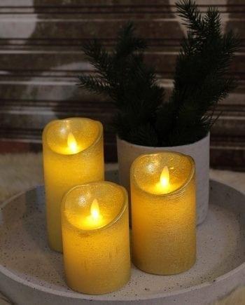 Naturlig Flamme LED Kubbelys Voks Gull 3 størrelser-0
