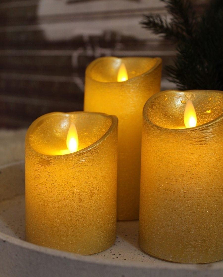 Naturlig Flamme LED Kubbelys Voks Gull 3 størrelser-65936