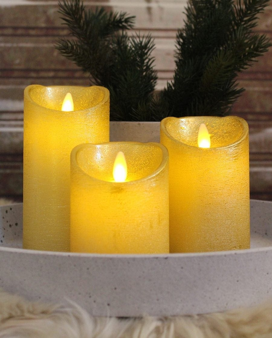 Naturlig Flamme LED Kubbelys Voks Gull 3 størrelser-65934