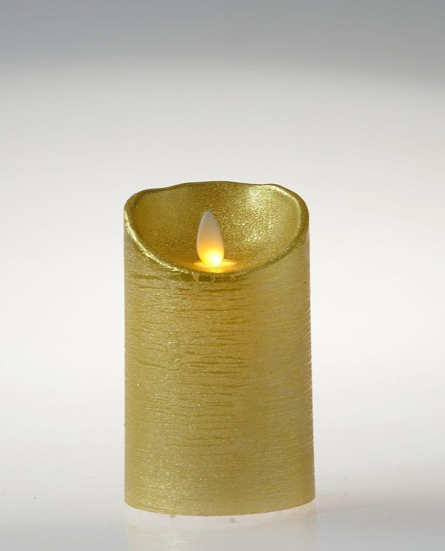 Naturlig Flamme LED Kubbelys Voks Gull 3 størrelser-64493