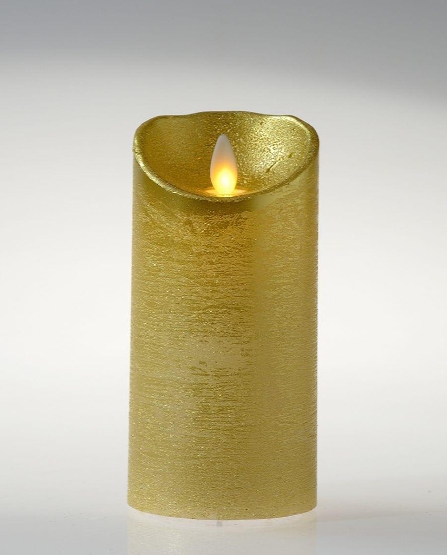 Naturlig Flamme LED Kubbelys Voks Gull 3 størrelser-64491