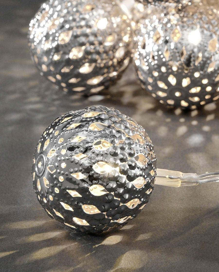 Metallballer LED Lysslynge 24 Lys Sølv-64168