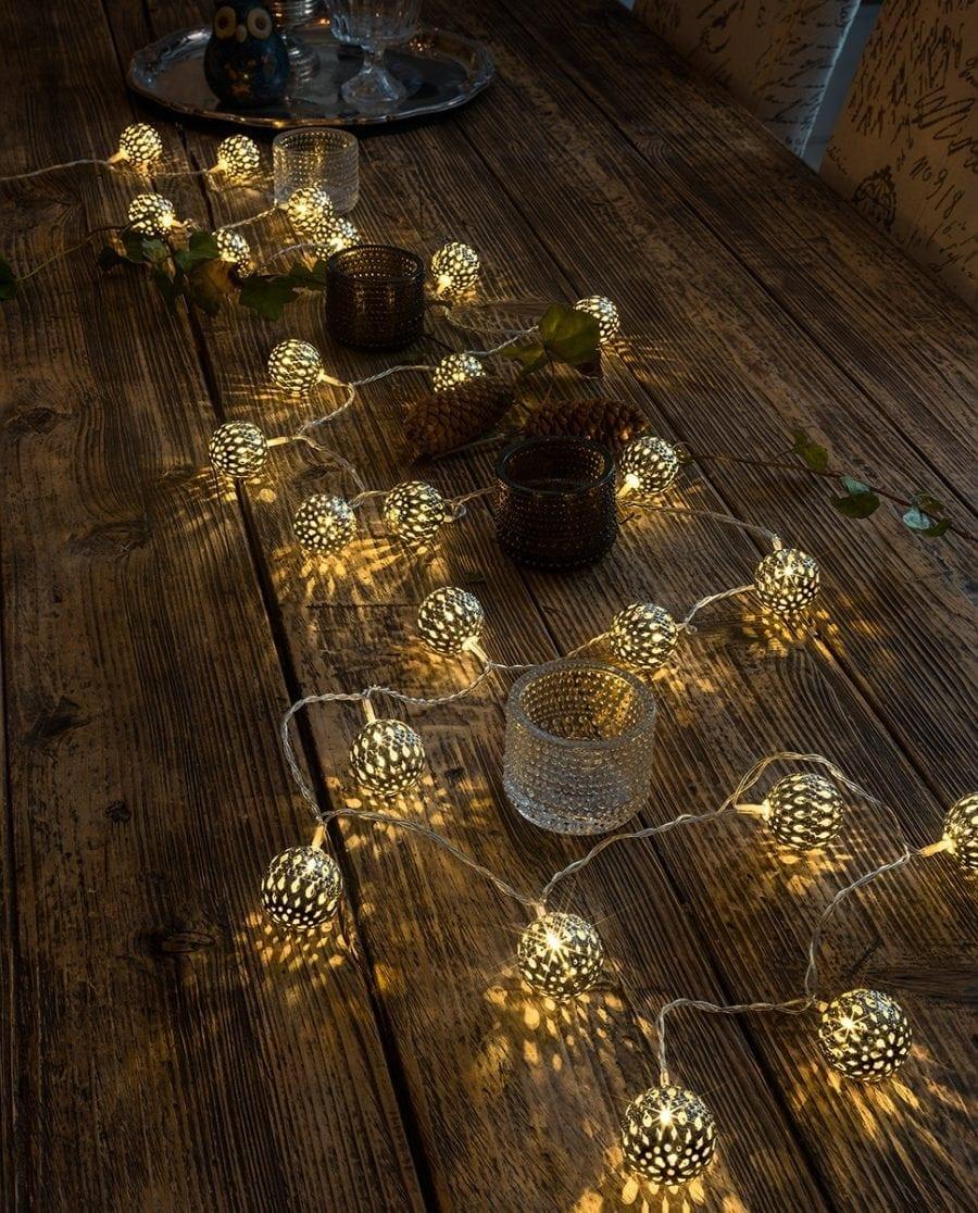 Metallballer LED Lysslynge 24 Lys Sølv-64169